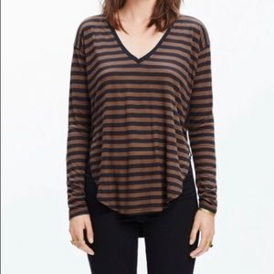 Madewell Anthem Striped V-Neck Long Sleeve Tee